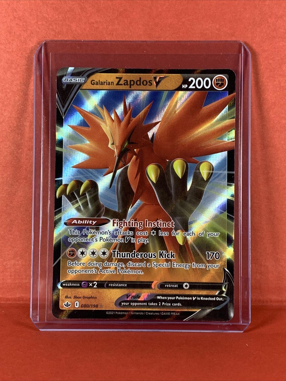 Pokemon Chilling Reign - Full Art Ultra Rare - Galarian Zapdos V 080/198 - NM/M