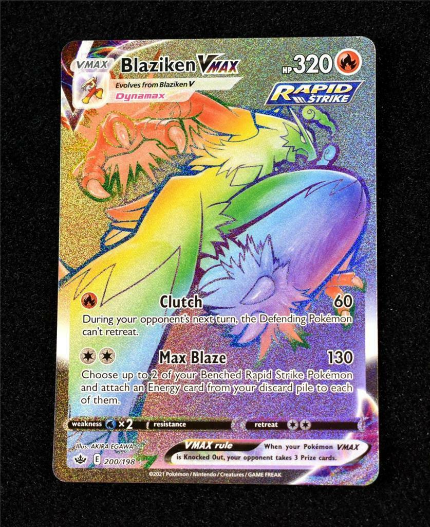 Pokemon Card Chilling Reign: Blaziken VMax Rainbow Secret Rare 200/198