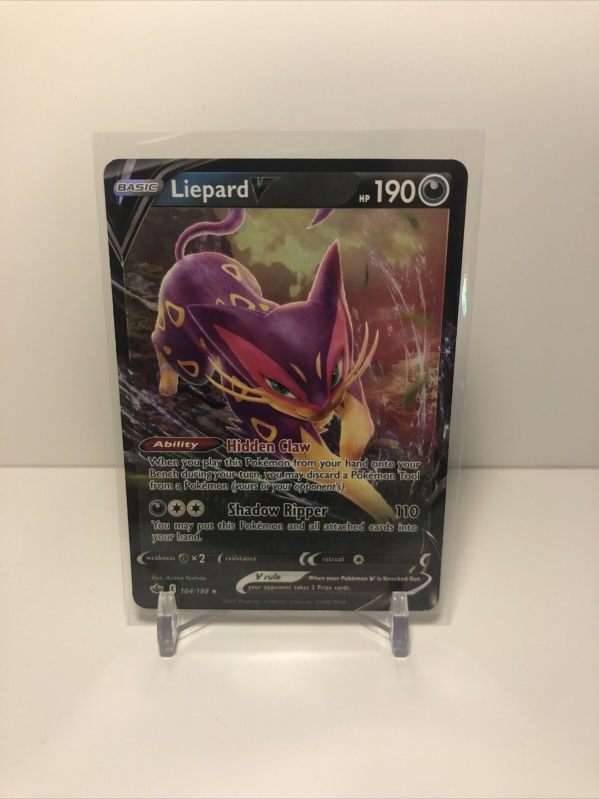 Liepard V Pokémon Card (Chilling Reign 104/198) Ultra Rare