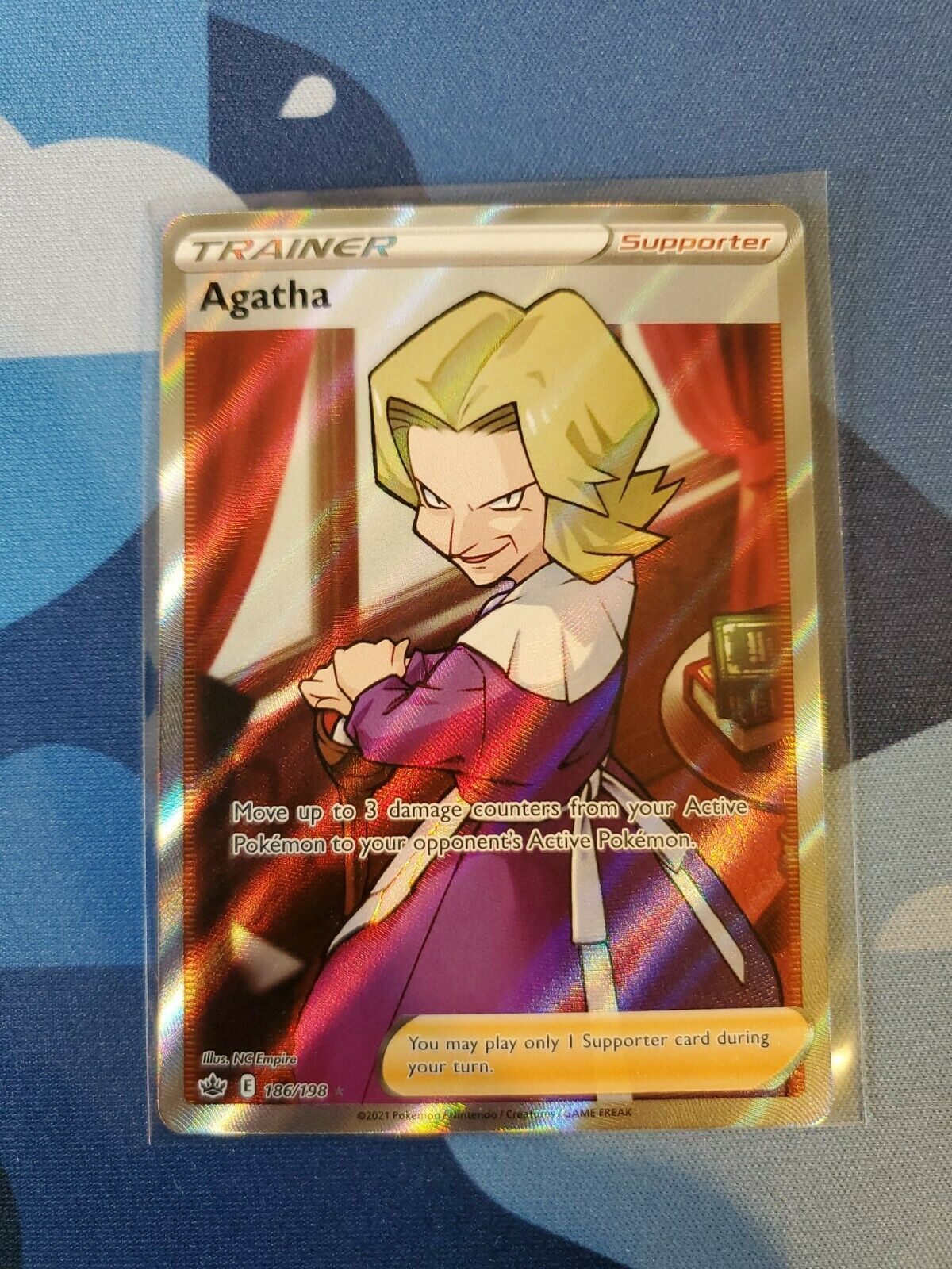 Pokemon Agatha 186/198 Full Art Ultra Rare Chilling Reign MINT PSA 10