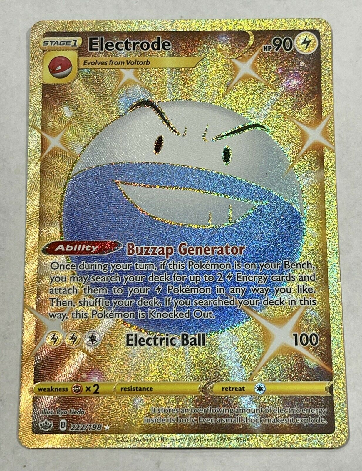 Gold Shiny Electrode 222/198 Chilling Reign Pokemon Card NM