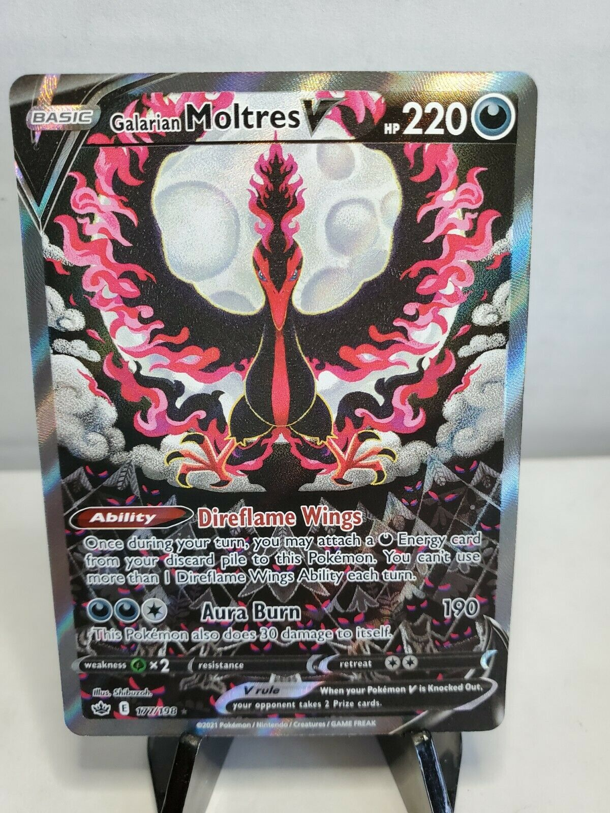 Pokemon Galarian Moltres V 177/198 Alternate Full Art Chilling Reign Near Mint