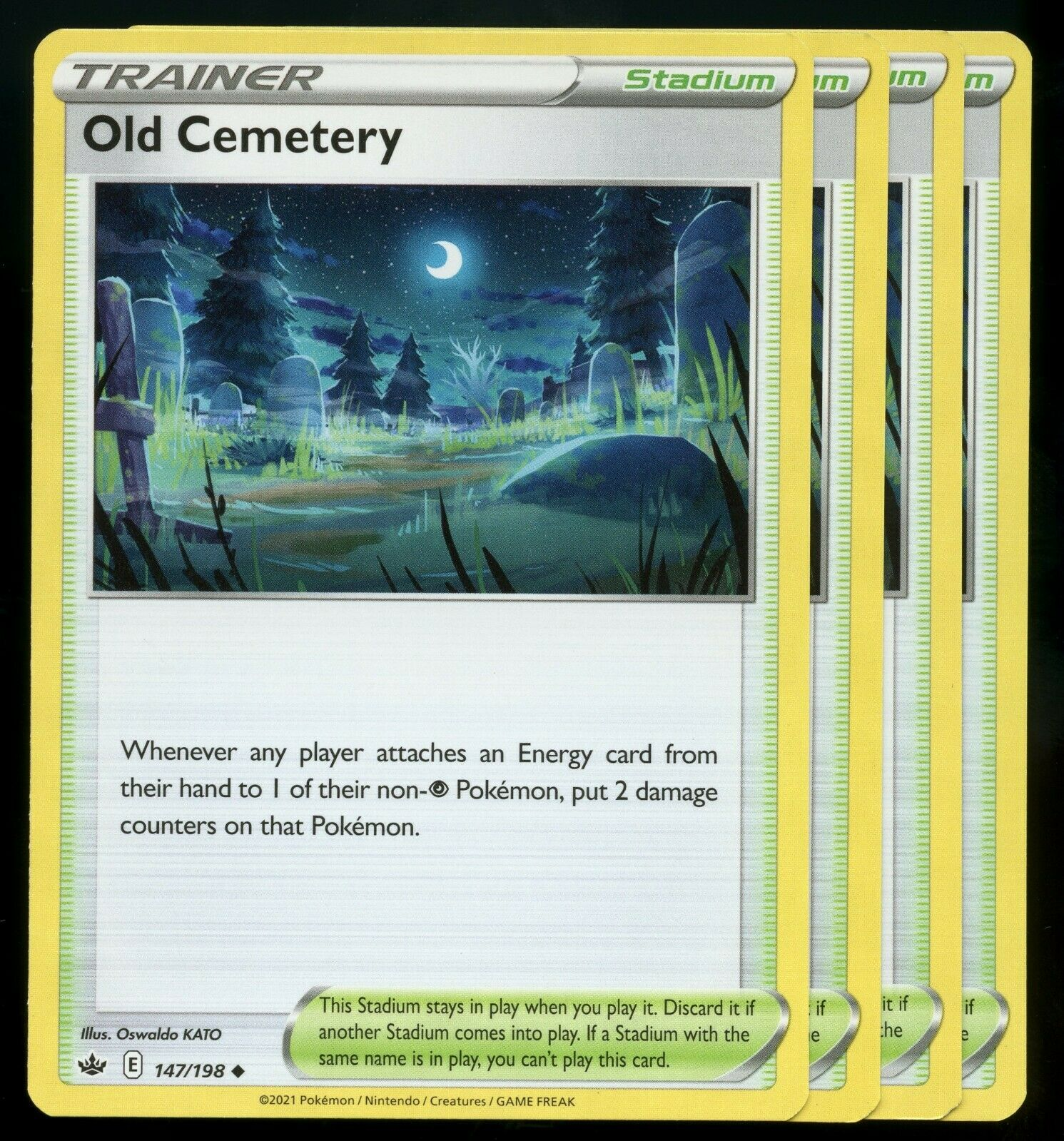 Pokemon Cards x4 Old Cemetery 147/198 Chilling Reign Playset LP