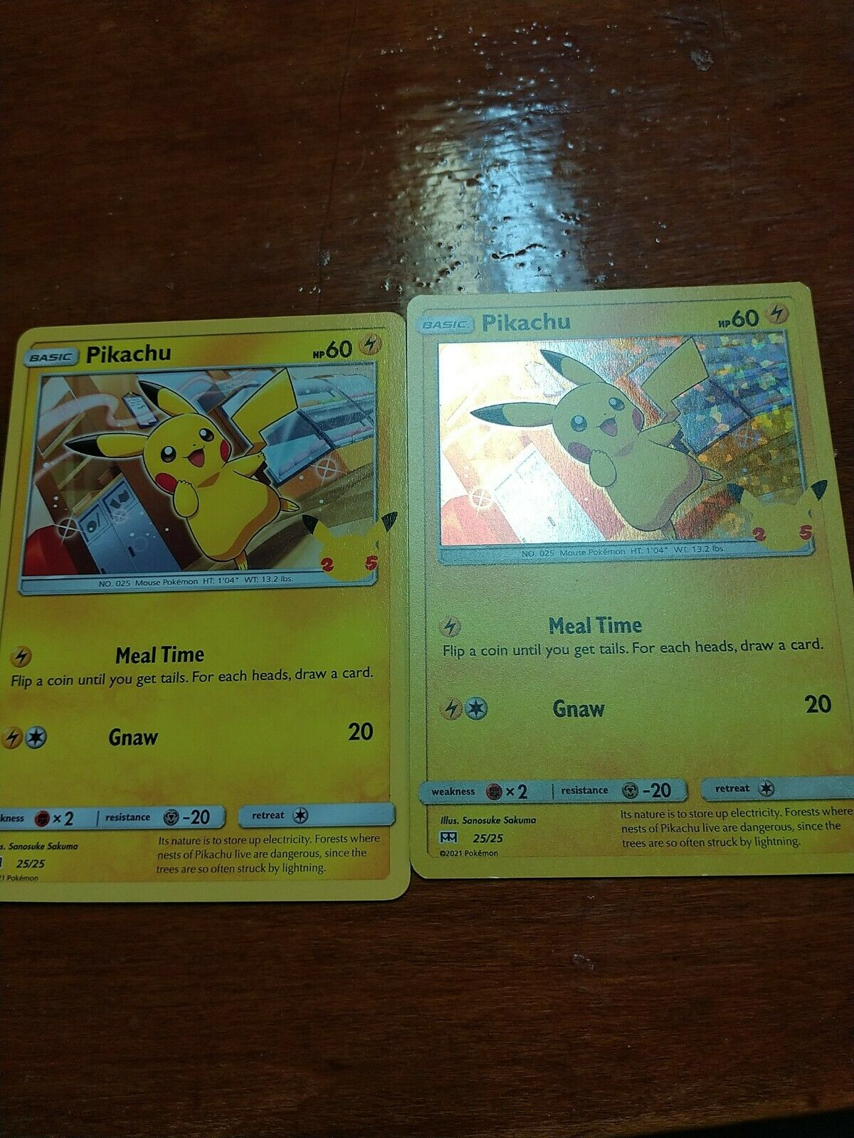 McDonald's 25th Anniversary Pikachu 25/25 Holo + Non Holo Promo Set