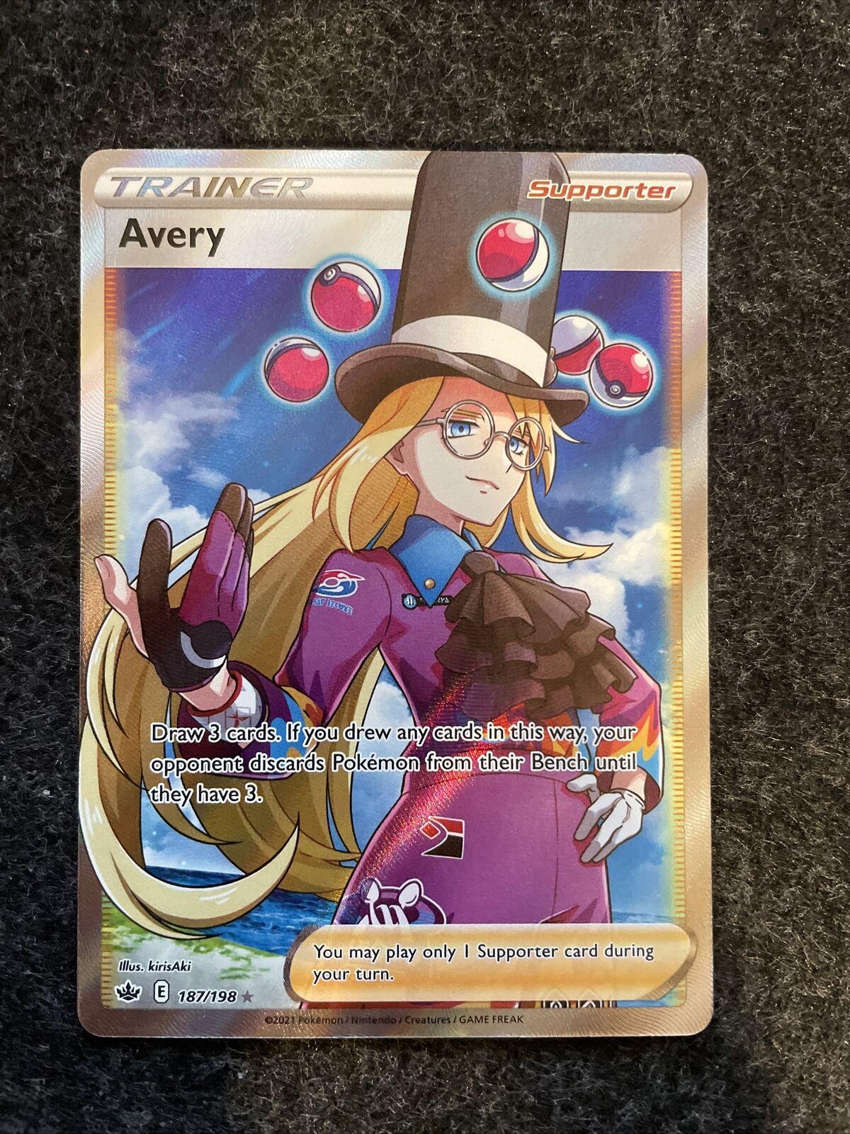 Avery Full Art Trainer 187/198 Pokemon Card Chilling Reign