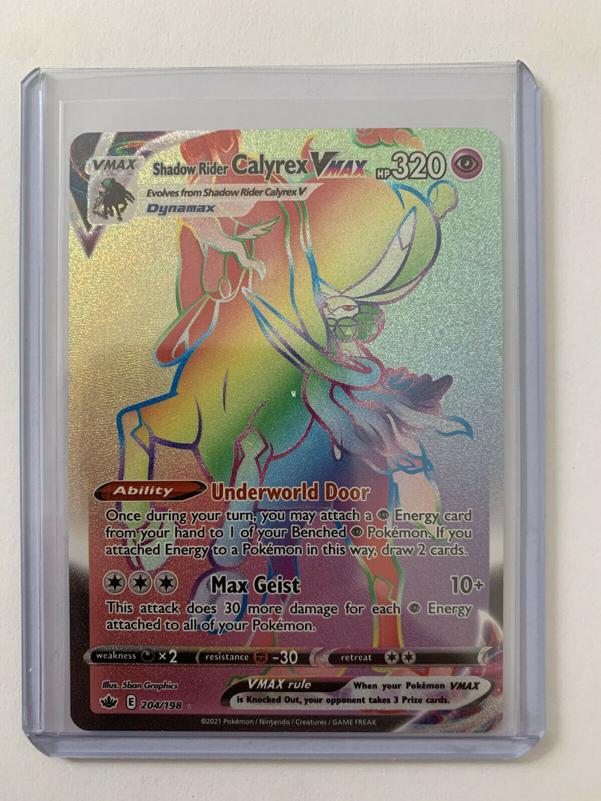 (Mint) Shadow Rider CALYREX VMAX Rainbow Secret RARE 204/ 198 Chilling Reign