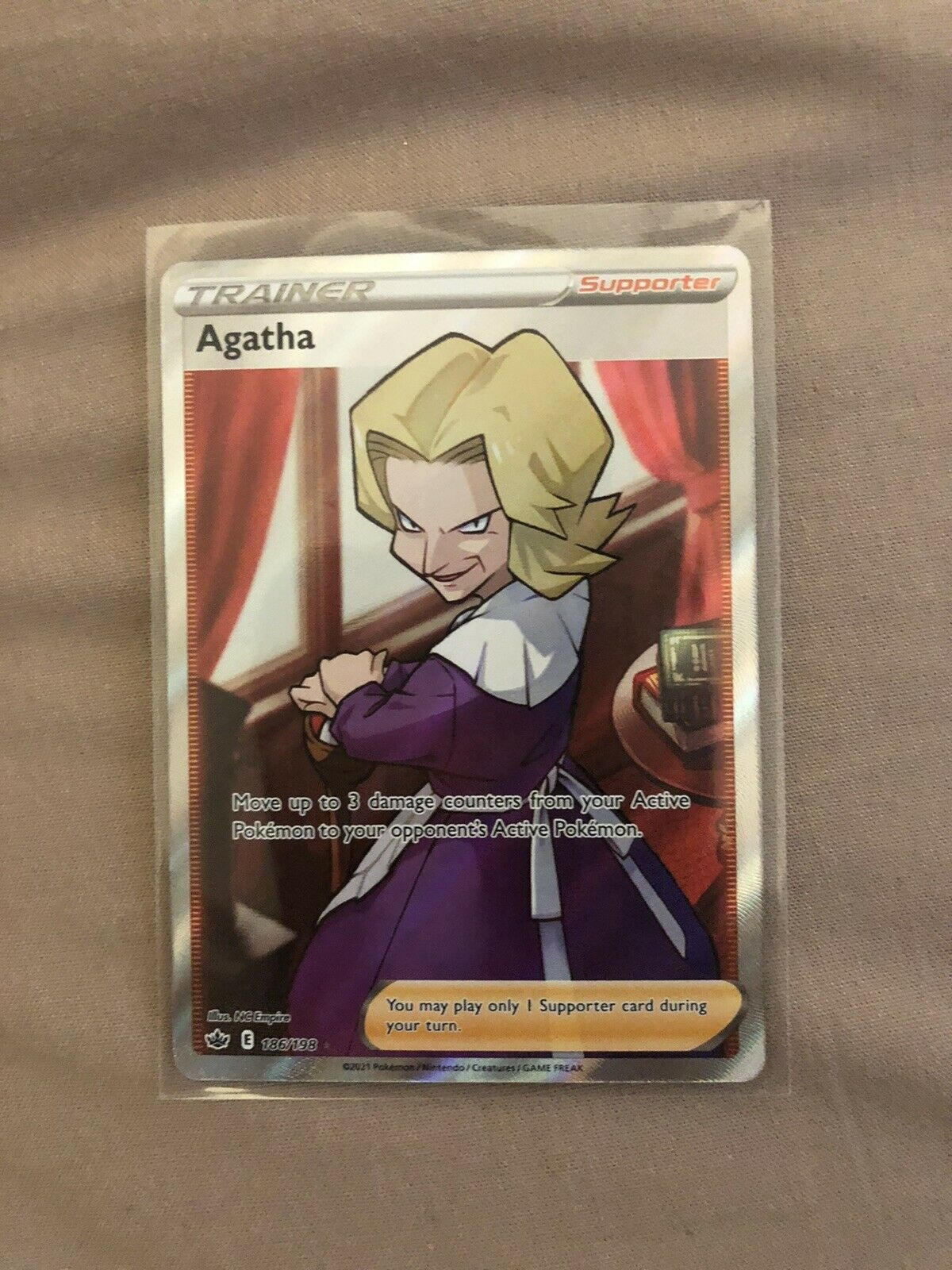 Pokemon TCG Agatha 186/198 Full Art Ultra Rare Chilling Reign Mint