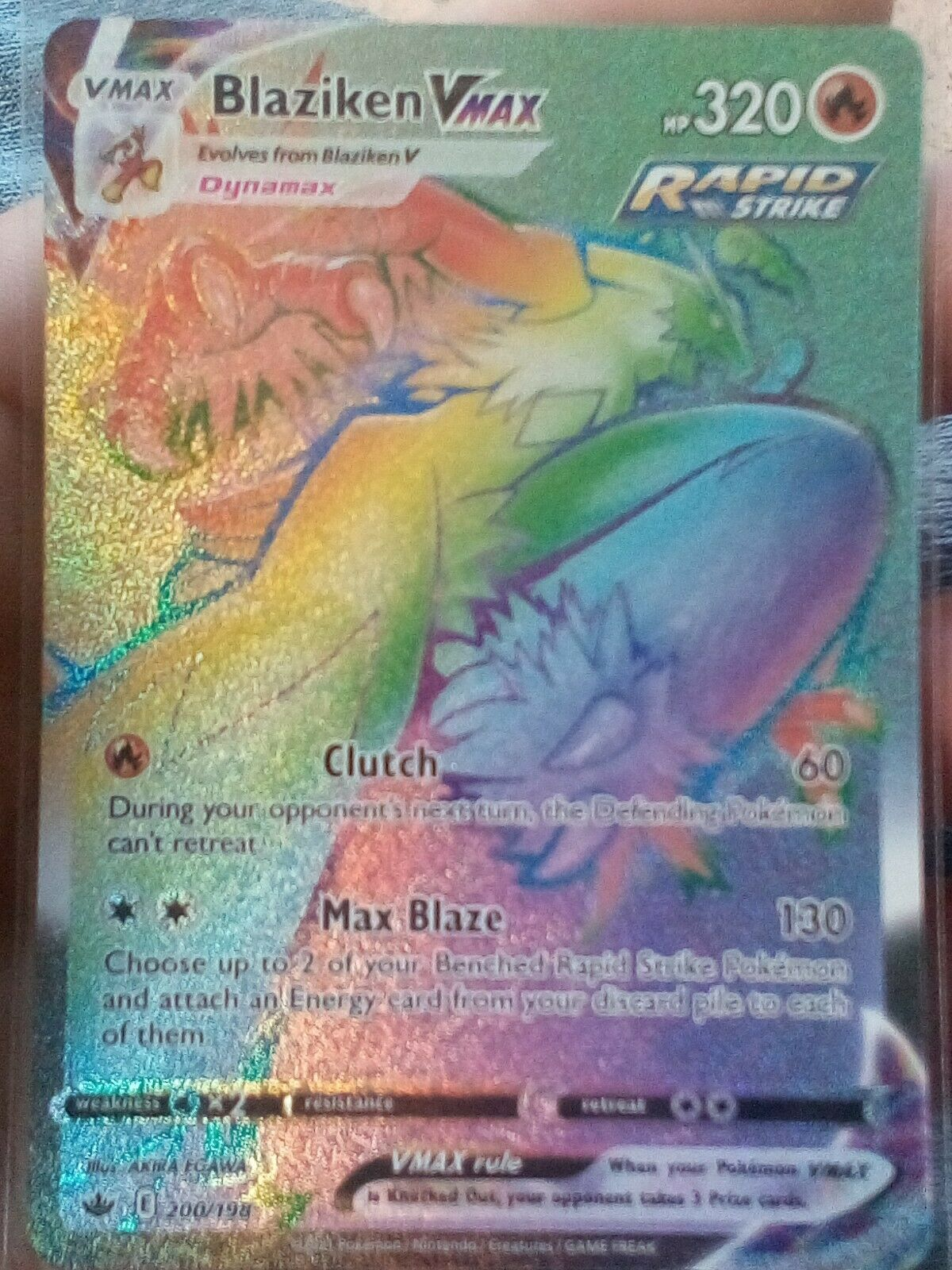 Blaziken VMAX Rainbow Secret Rare 200/198 - Pokemon Chilling Reign - MINT