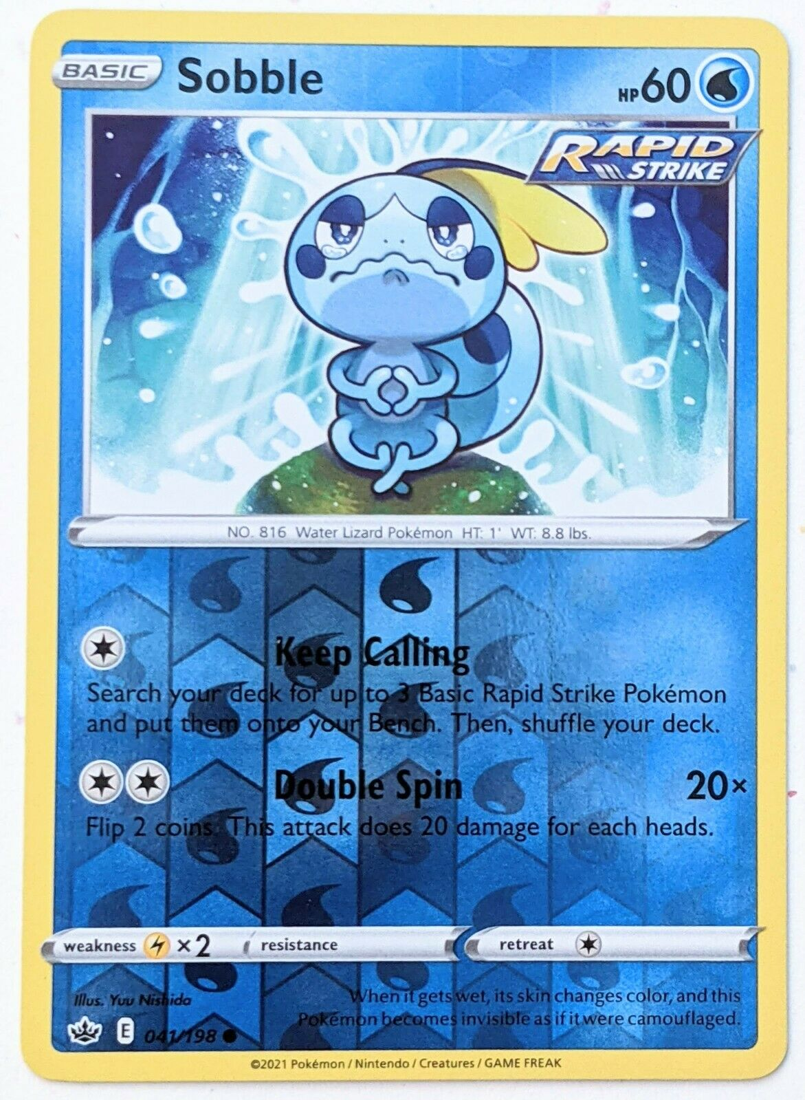 Chilling Reign Pokemon TCG: Sobble 041/198, Reverse Holo