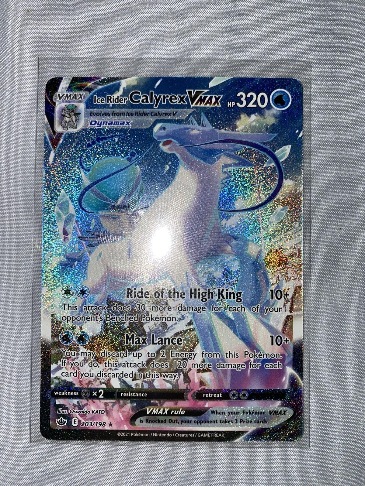 Pokemon ICE RIDER CALYREX VMAX 203/198 Chilling Reign ALTERNATE FULL ART - MINT