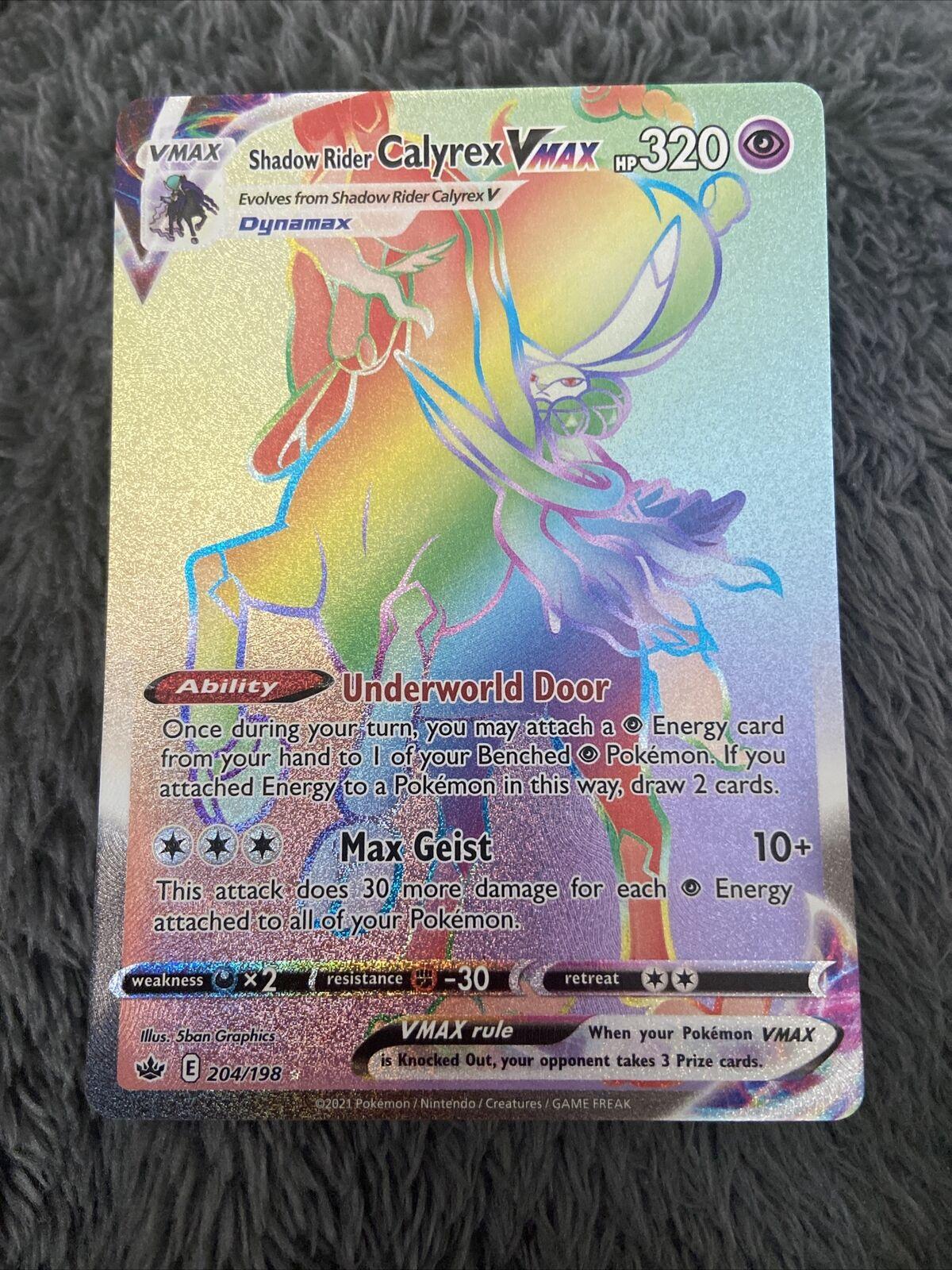 Shadow Rider Calyrex VMAX 204/198 Rainbow Secret Rare Chilling Reign Nm-Mint