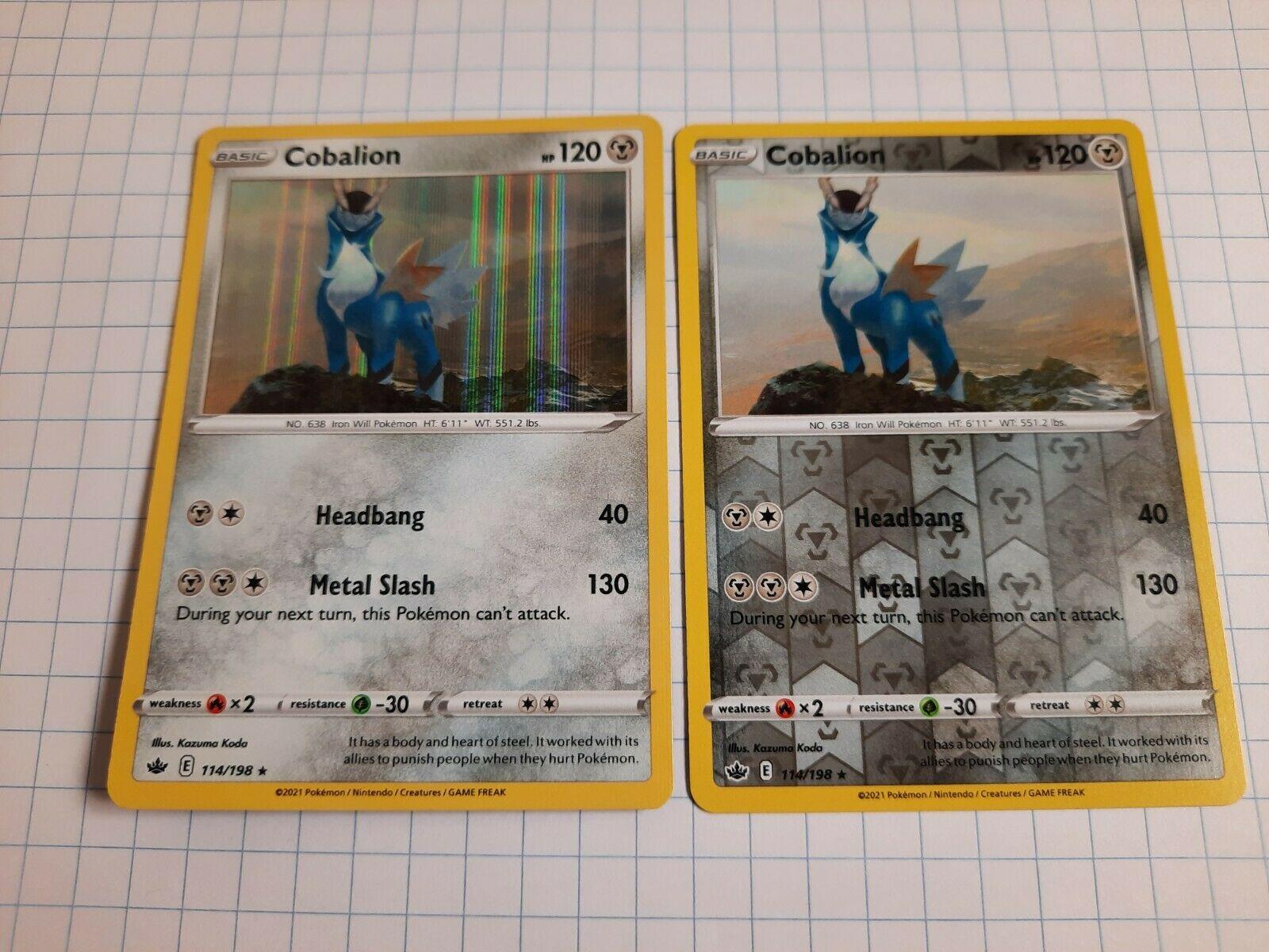 Cobalion 114/198 Holo Rare - Reverse Holo Chilling Reign Pokemon Card NM/M
