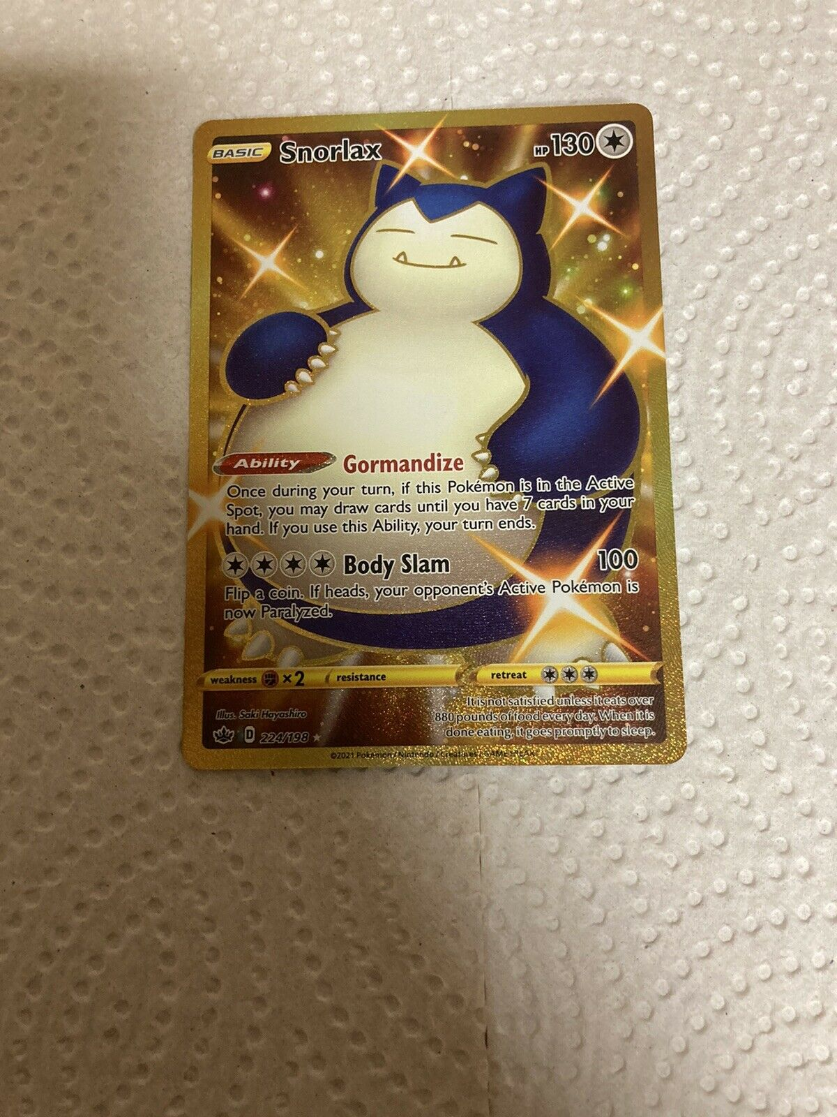 pokemon chilling reign gold snorlax 224/198 great shape