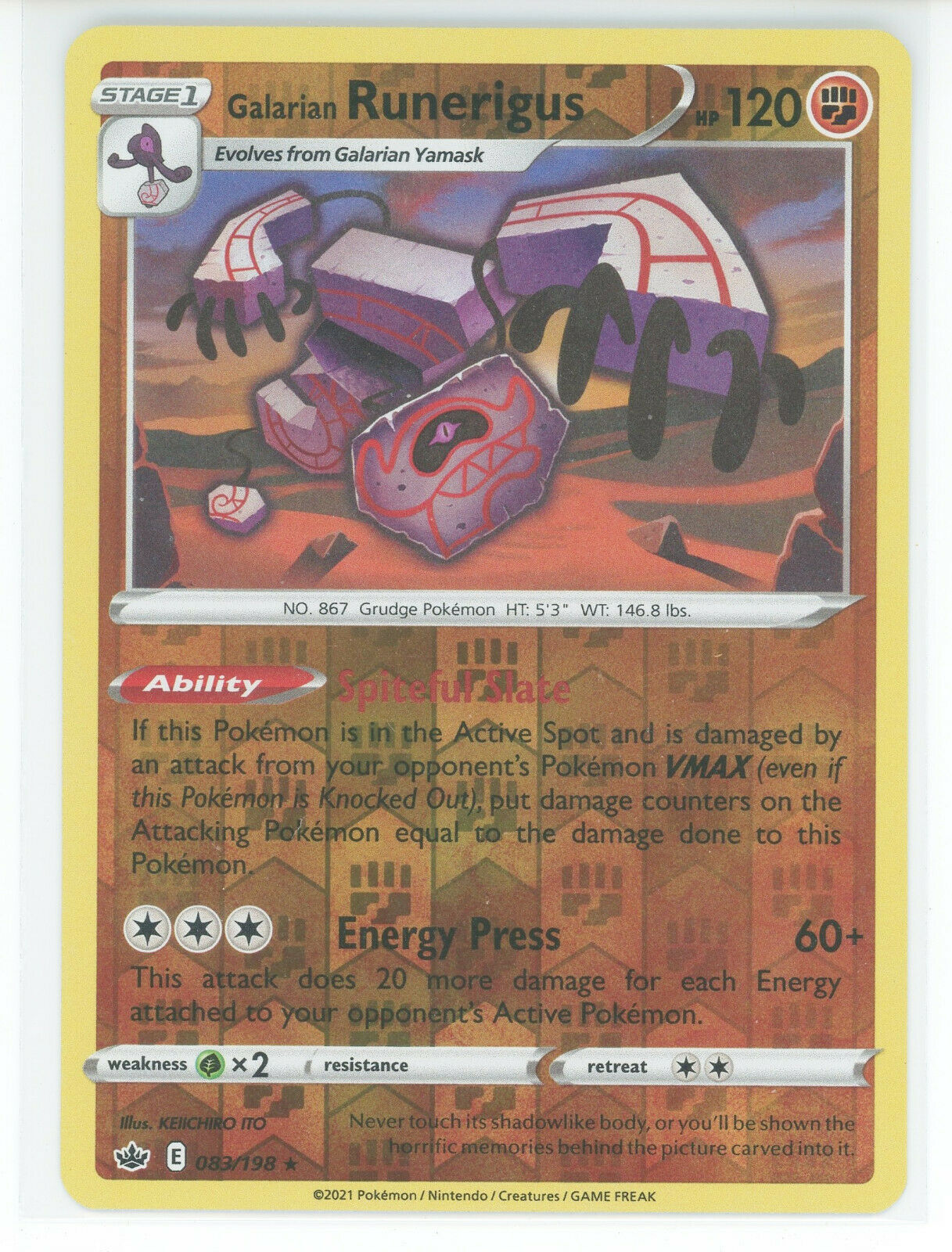 Pokemon 2021 S&S Chilling Reign Galarian Runerigus 083/198 Reverse Holo Rare