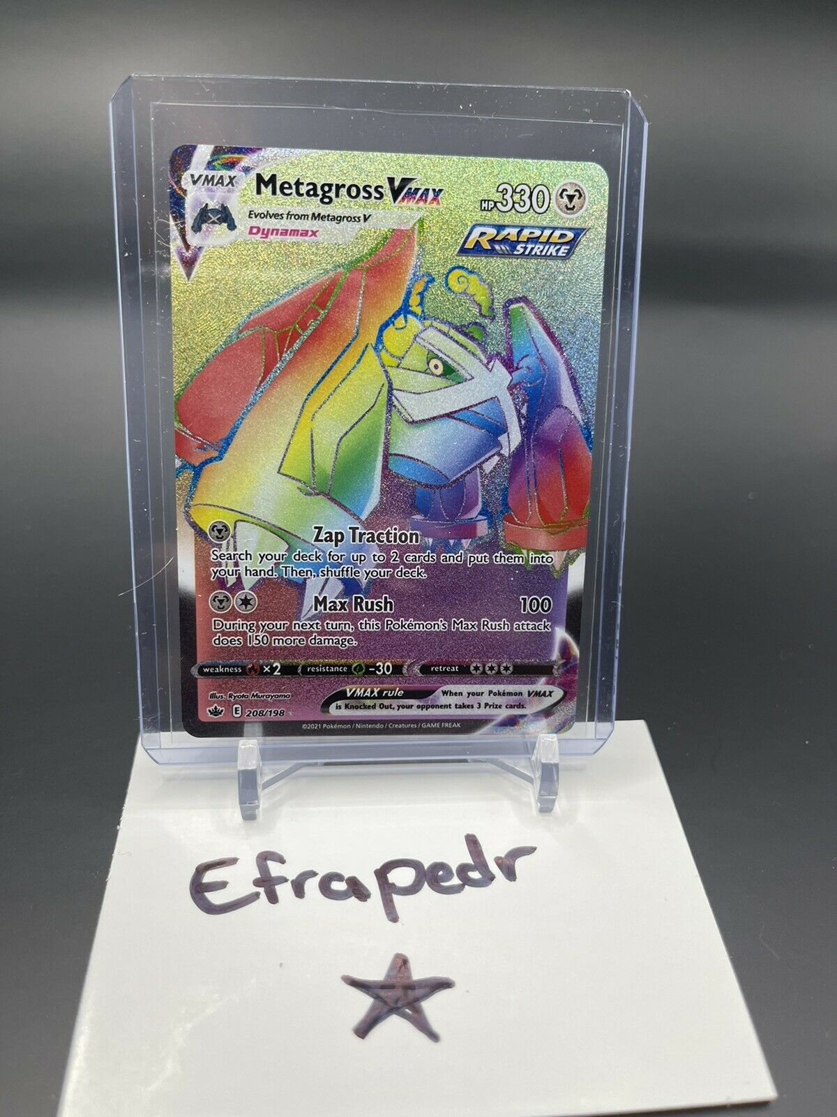 Metagross VMAX Chilling Reign 208/198 Rainbow Secret Rare Pokémon Card - Image 1