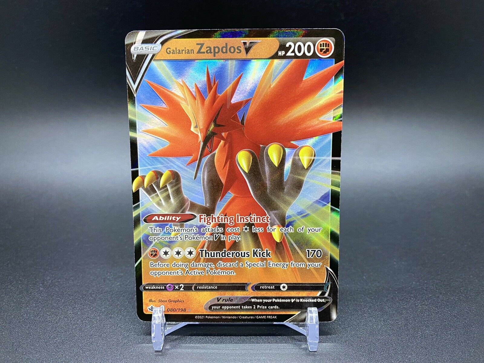 Galarian Zapdos V 080/198 Pokemon TCG Chilling Reign Ultra Rare Near Mint