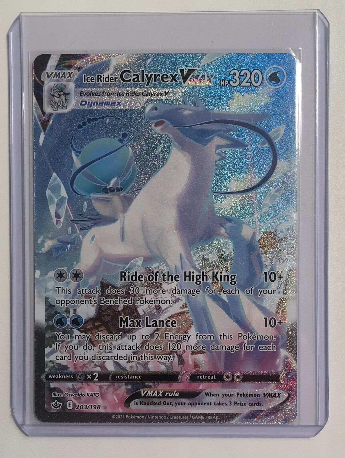 Ice Rider Calyrex VMAX 203/198 Alternate Art NM Chilling Reign Pokemon Card PSA