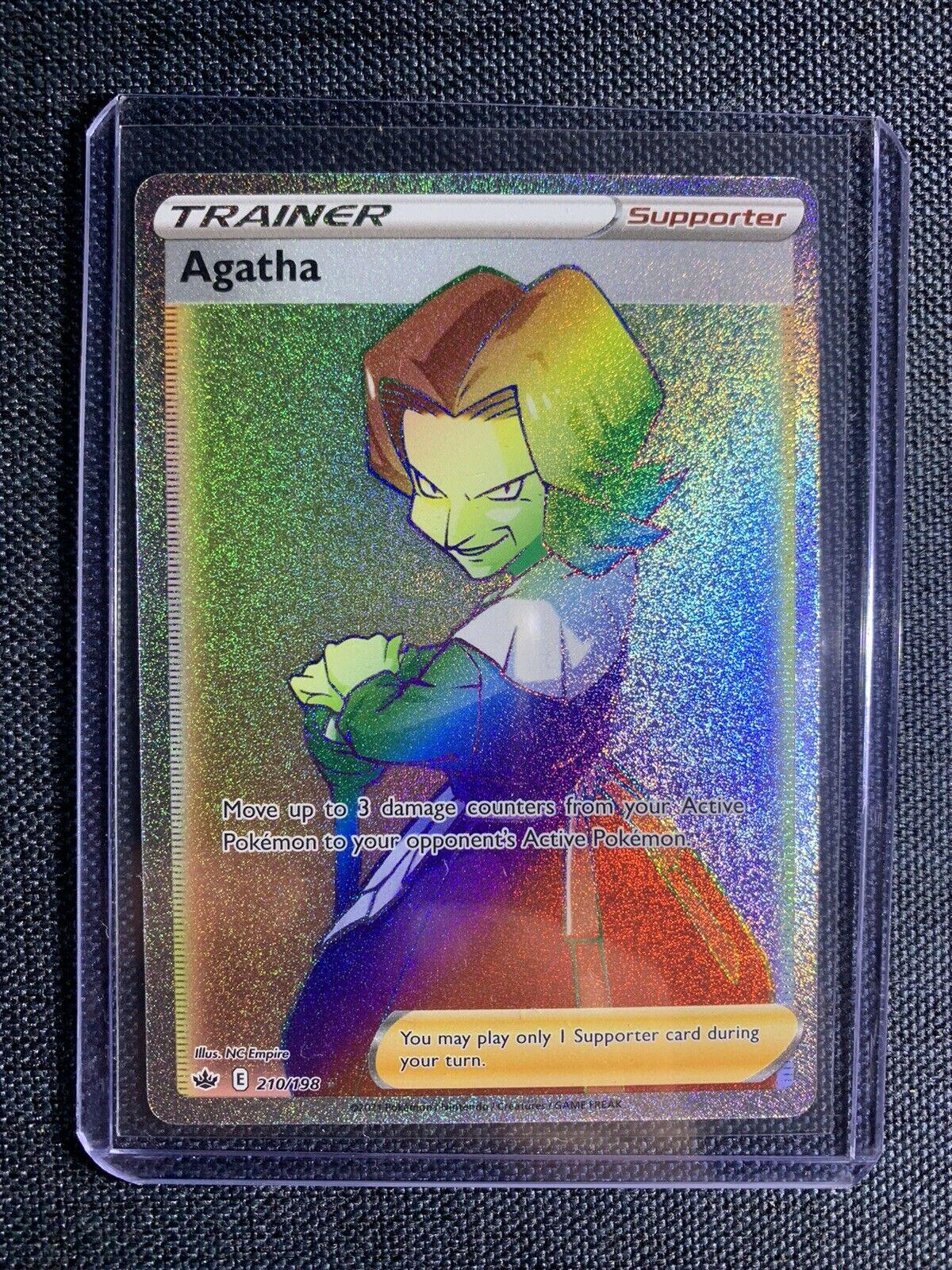 Pokemon Agatha 210/198 Rainbow Full Art Secret Rare Chilling Reign Card Mint PSA
