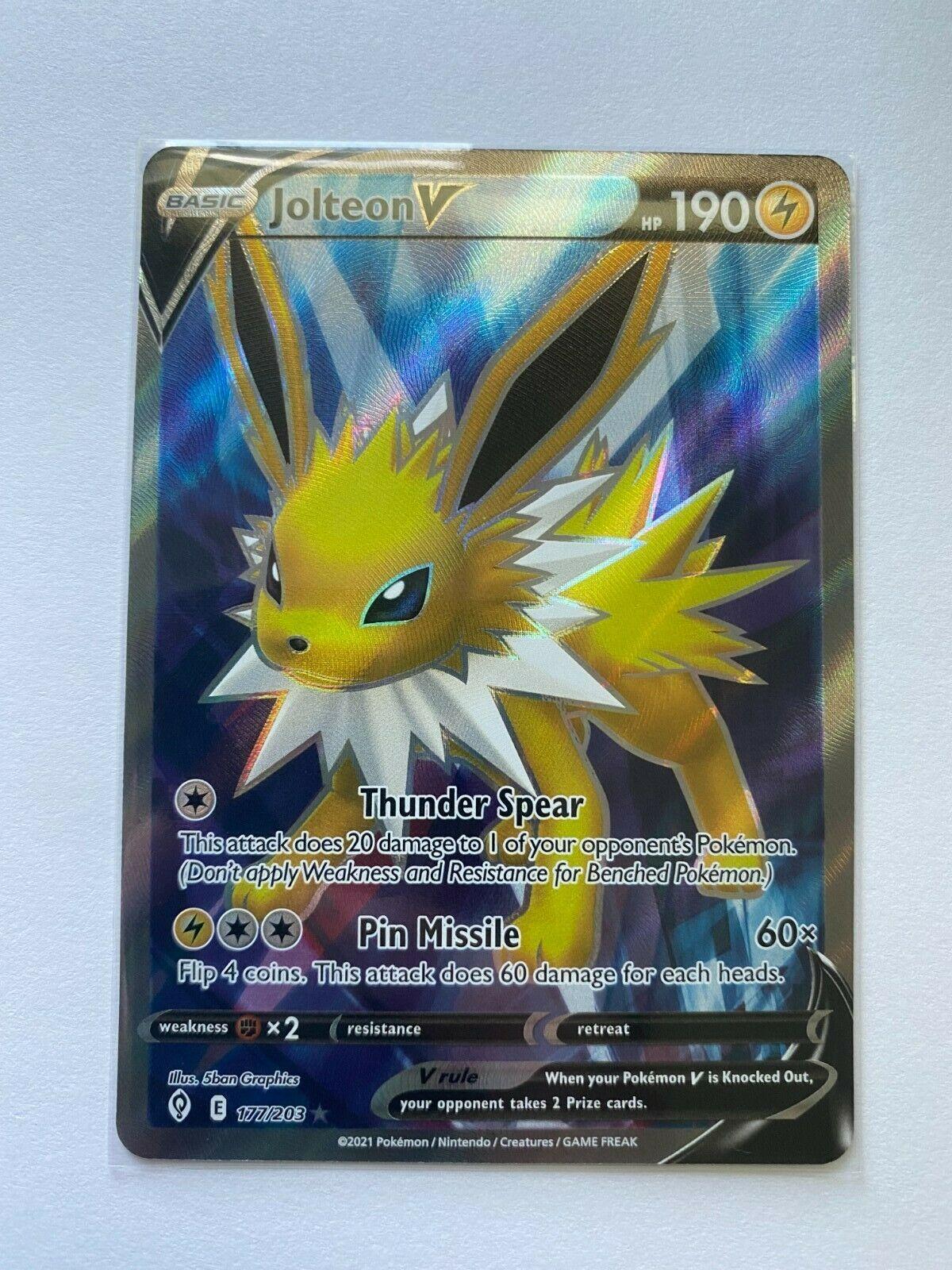 Jolteon V 177/203SWSH07: Evolving Skies Pokemon TCG Ultra Rare Near Mint