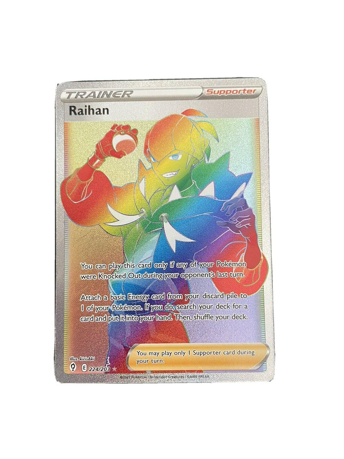 Pokemon Evolving Skies Raihan Rainbow Full Art Trainer 224/203 NM/M