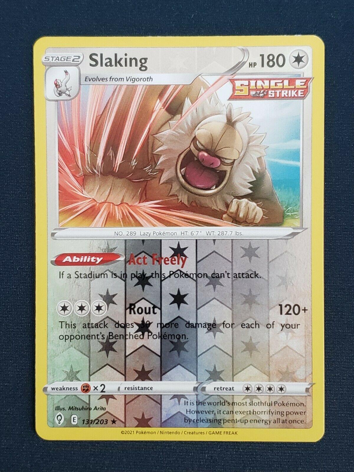 Pokemon Evolving Skies 131/203 Slaking Reverse Holo Rare Near Mint