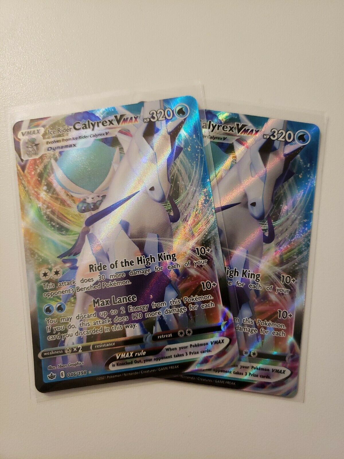 x2 Pokemon TCG Ice Rider Calyrex VMAX NM/M Chilling Reign 046/198