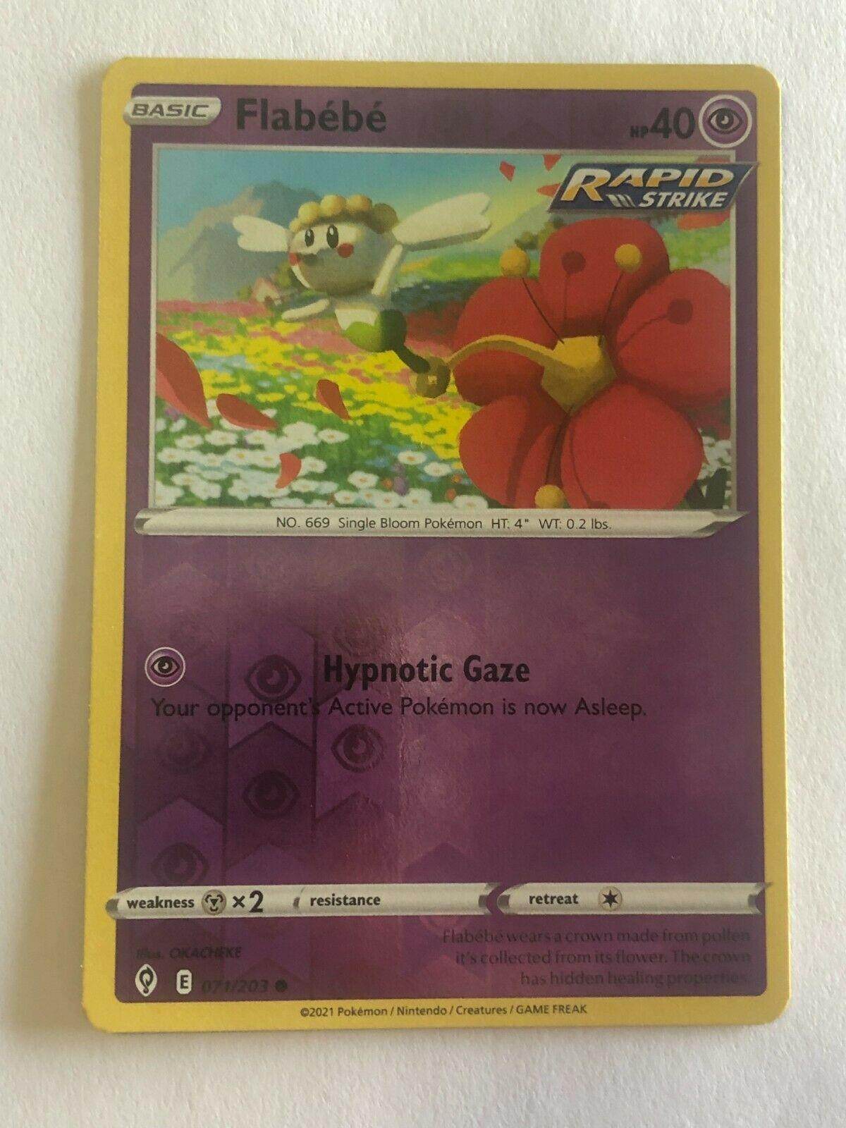 Pokemon Card Evolving Skies Reverse Holographic Flabebe 071/203 Near Mint/MT