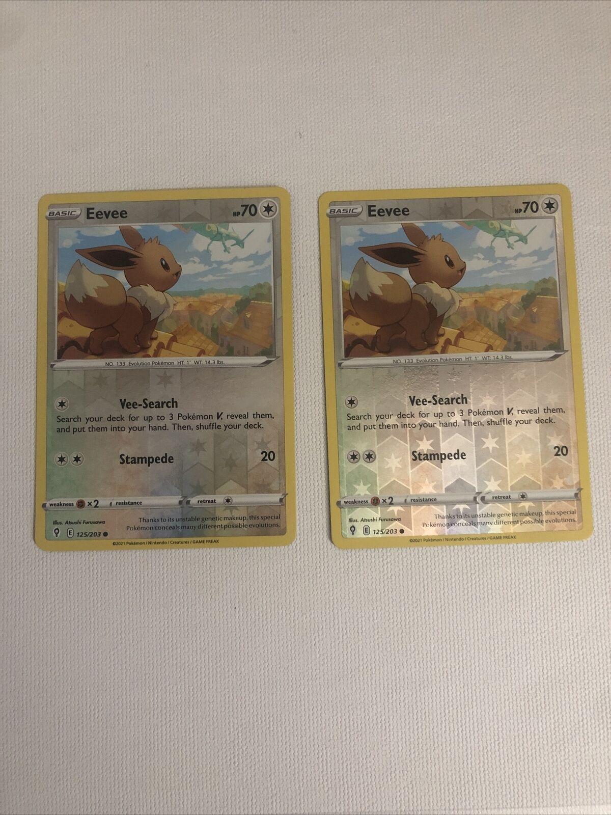 2x Eevee Evolving Skies 125/203 Reverse Holo Pokemon Card