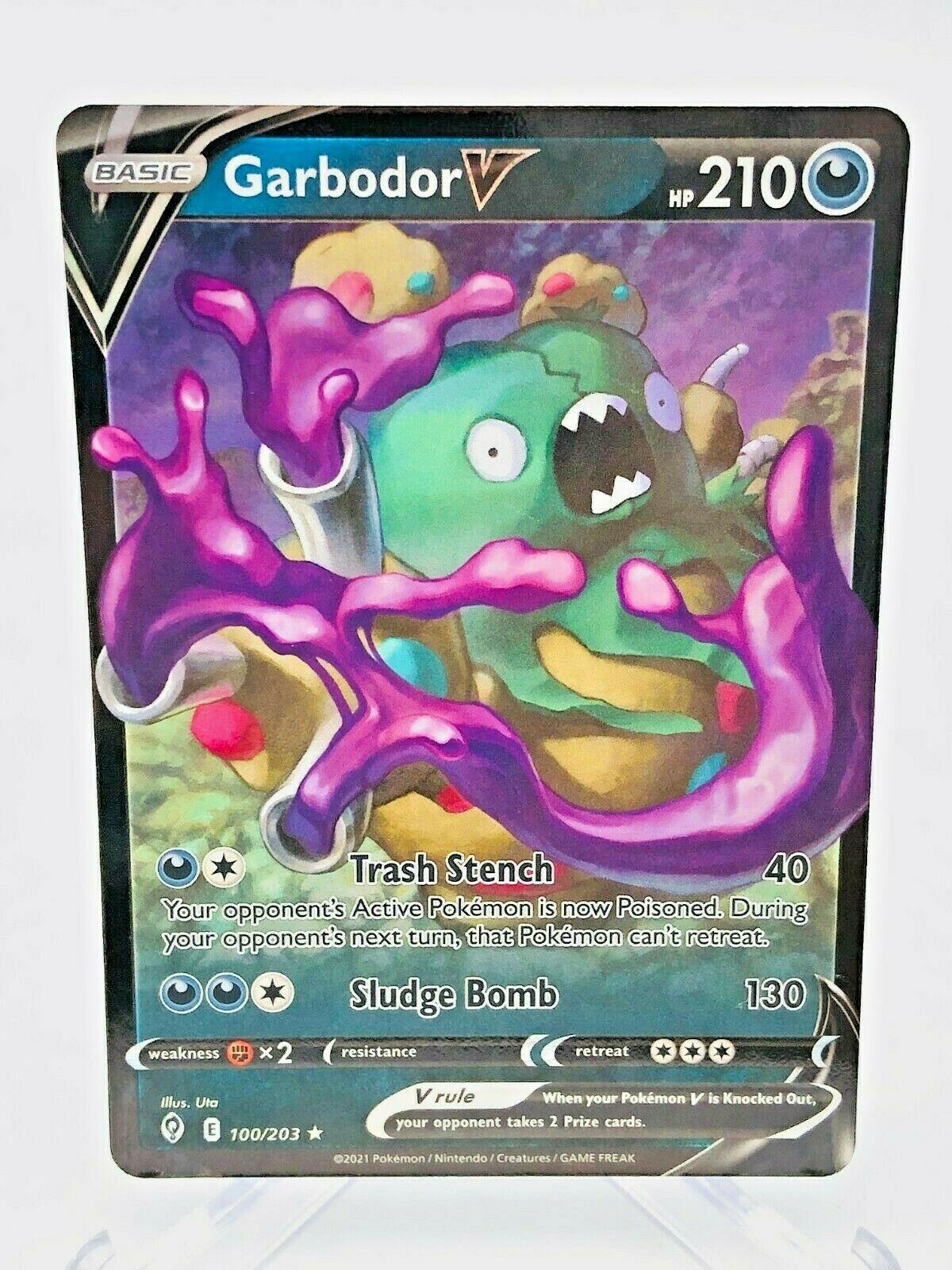 Sword & Shield Garbodor V Full Art Evolving Skies 100/203 Ultra Rare Pokemon
