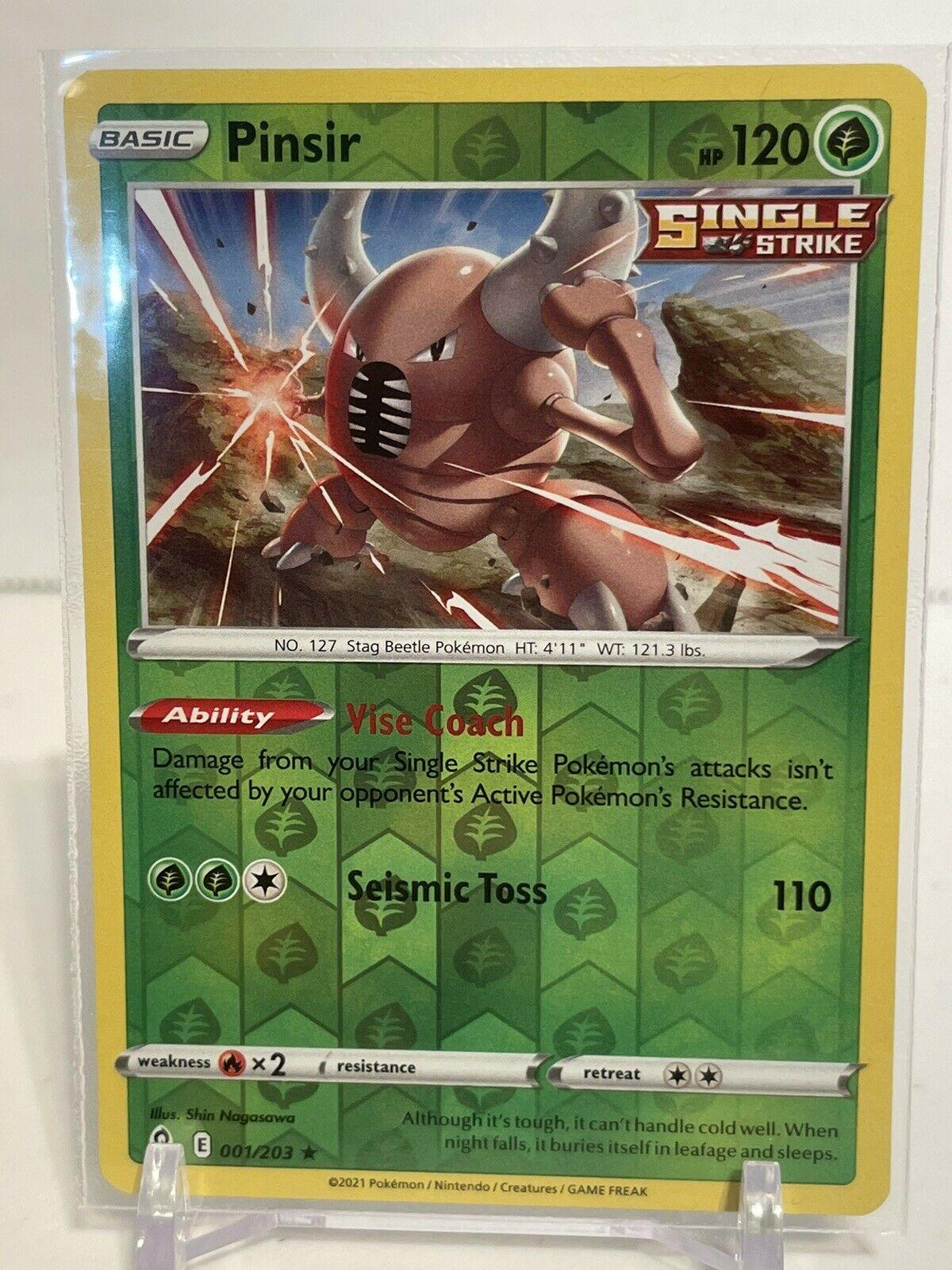 Pokemon PINSIR 001/203 Evolving Skies - RARE Rev Holo - - MINT