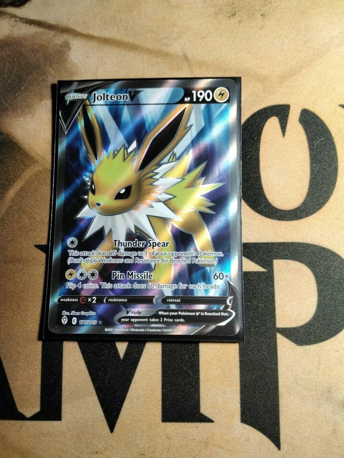 Jolteon V 177/203 Evolving Skies NM Full Art Ultra Rare Pokemon Card