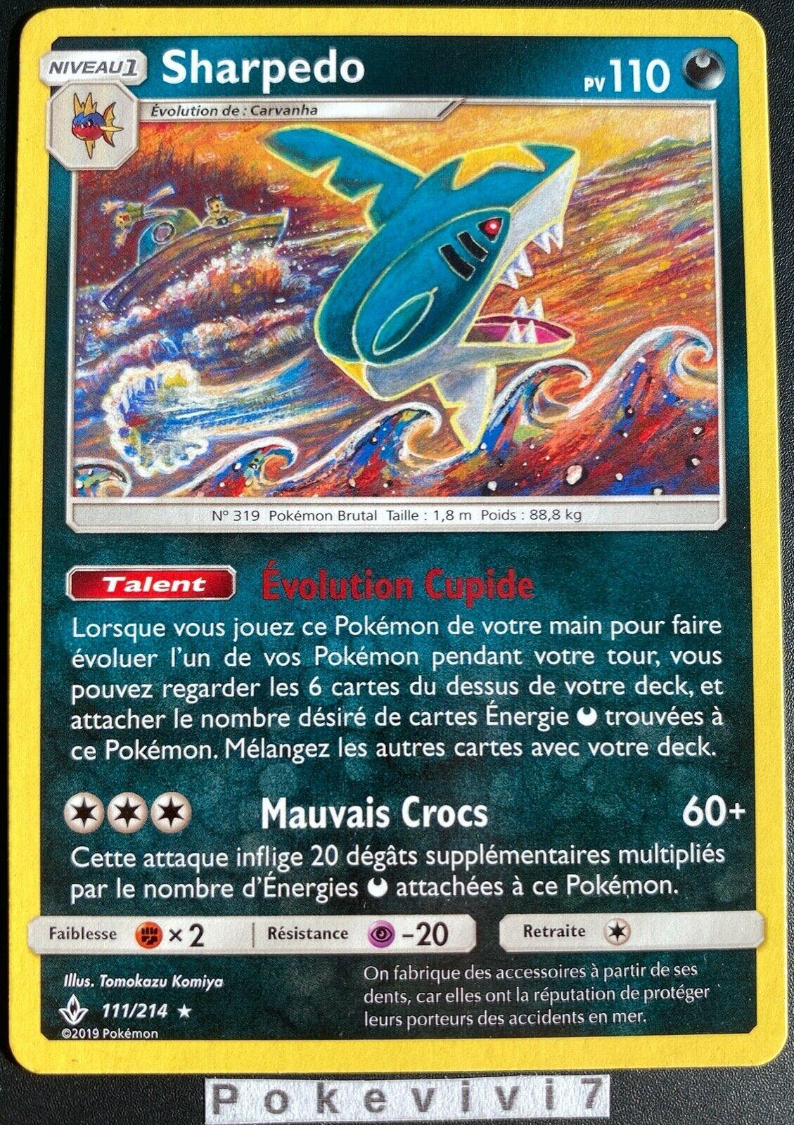 Carte Pokemon SHARPEDO 111/214 RARE Soleil et Lune 10 SL10 FR NEUF - Image 1