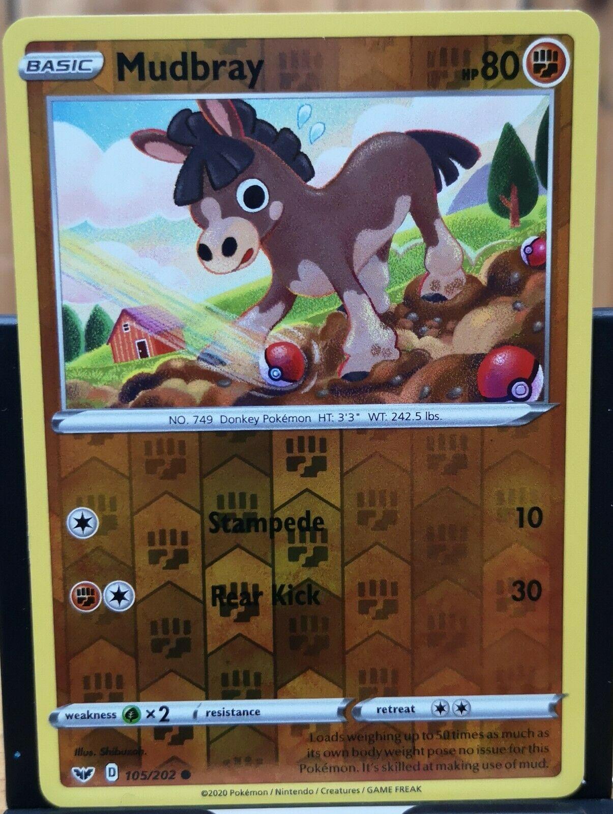 Base Set 105//202 MudbrayCommon Reverse Holo Card Pokemon TCG Sword /& Shield
