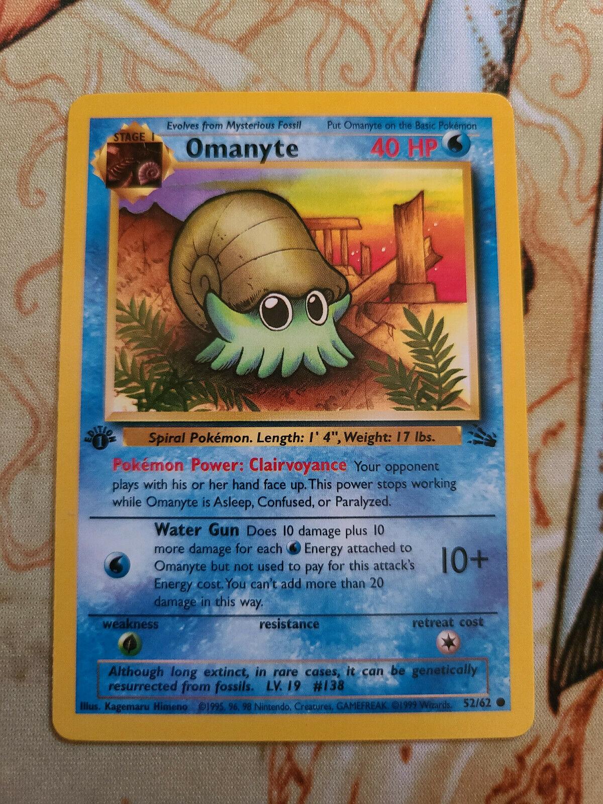 PokemonOmanyte 52//62 Pokémon Card Fossil Set NM Uncommon